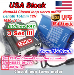 usa 3x 12n m Nema34 Servo Stepper Motor Closed Loop Hss86 Hybrid Driver Cnc Kit