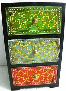 Wooden Chest Handmade Small Drawers Hand Painted Decorated Drawers Indian Art