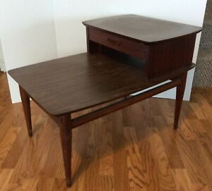 Vintage Lane Two Tiered End Table Drawer Paneled Sides Mid Century