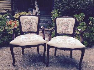 French Provincial Louis Xv Style Carved Floral Italian Tapestry Arm Chairs
