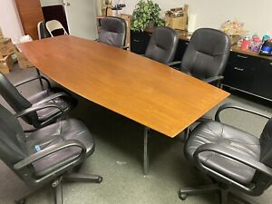 8 Long Wood Conference Table dim 116 5 X 45 125 X 28 6 Office Chairs