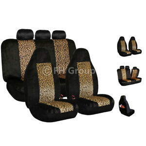 2 Tone Brown Leopard Velour Seat Covers For Car Suv Van Universal Fitment