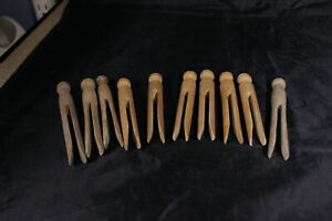 Vintage Clothes Pins Lot Of 10 Wood Primitive Laundry Round Head