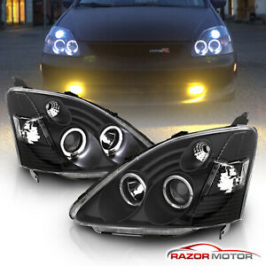 02 03 Honda Civic Si Ep3 Dual Angel Eye Halo Projector Black Headlights Lamps