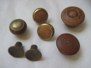 Antique Knobs Pulls Lot Of 7 Wooden Original Patina Old New Never Cleaned B9