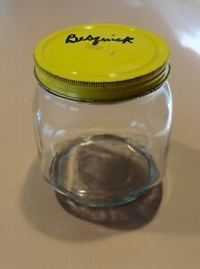Vintage Glass Canister Jar Yellow Metal Lid For Hoosier Cabinet Nice A H