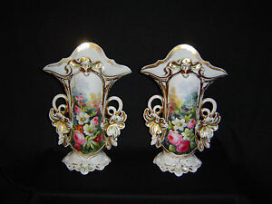 Pair Of Old Paris Flaires Antique Porcelains