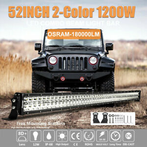 52 Inch 1200w Osram Led Light Bar Combo Flood Spot Work Offroad Lamp Car Truck