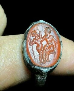 Ancient Carnelian Roman Queen And Prince Intaglio Signet Sterling Silver Ring