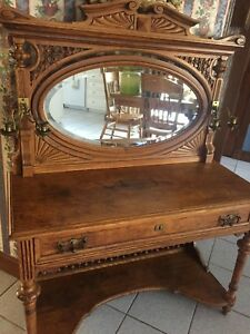 Victorian Ladies Stick And Ball Vanity Dressing Table Desk With Oval Mirror