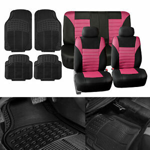 Combo Pink Auto Seat Covers Set With Black Floor Mats For Car Suv