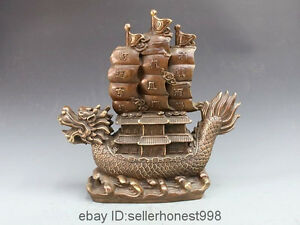 China Bronze Copper Dragon Boat Sailboat Home Feng Shui Attract Wealth Statue