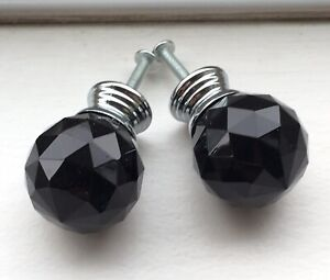 2 X Clear Black Glass Faceted Diamante Door Knobs Handles Aprox 1 5 Inch Wide
