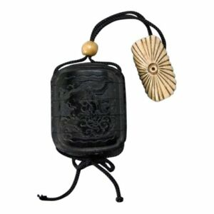 19th C Four Case Black Lacquer Inro With Ojime And Netsuke Meiji Period Japan