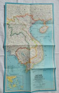 Vintage Vietnam Cambodia Laos Thailand Map 1965 National Geographic Poster