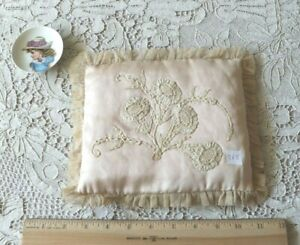 French Antique Handmade Lace On Pale Pink Satin Silk Pillow Bridal L 7 X W 8