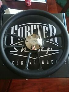 14 Muscle Black Billet Half Wrap Steering Wheel Chevy Horn Button Forever Sharp