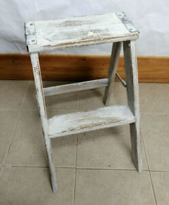 Vintage Wood Step Ladder Stool White Shabby Chic Rustic Farm Fixer Look