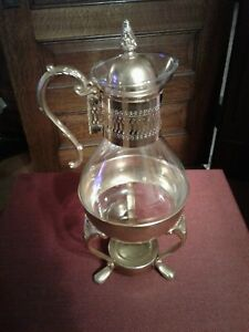 Vintage Brass And Glass Coffee Carafe Pot With Warmer Stand