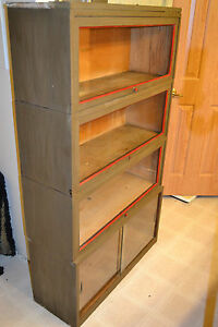 Antique Shaw Walker Military Green Stacking Barrister Bookcase Display Show Case