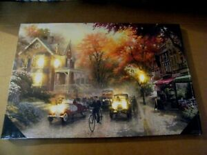 8 Led Lights Lamp Post Antique Cars Town People Lit Canvas Wall Decor Sign 24x16