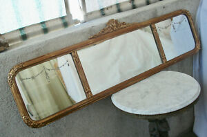 Antique Victorian Art Deco Gold Gesso Frame W Etched 3 Panel Wall Hanging Mirror