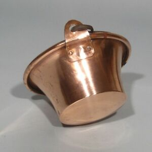 Antique French Copper Cauldron Handmade Rolled Edge