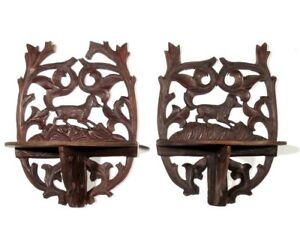 Pair Of Antique French Black Forest Style Shelf Ornament Hand Carved Wood Dogs