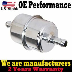 Chrome Plated Fuel Filter Fits 3 8 Id Hose Inline Car Auto Parts Fuel System Us