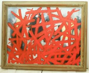 Vintage Abstract Expressionist Modernist Oil Painting Mid Century Modern Signed