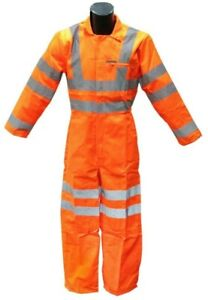 Hi vis Visibility Coverall Reflective Safety Wear Orange