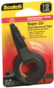 3m Scotch Super 33 Vinyl Electrical Tape Adhesive Wire Insulation Black 24 Roll