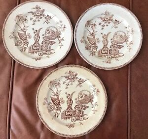 T Elsmore Son Tunstall England 3 Antique Dinner Plates Brown Transferware 1878