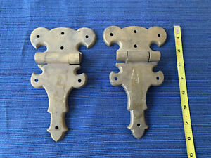 2 Large Ornate Strap Hinges Solid Brass Heavy Thick Vintage