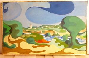 Vintage Abstract Modernist Hard Edge Oil Painting Mid Century Modern Morocco