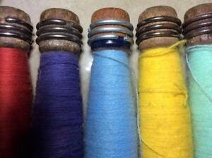 5 Antique Primitive Wood Spools Holders Thread Wool Silk Cotton Industrial Age