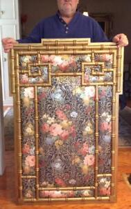 Antique Tapestry Frame Wall Panel Asian Silk Fabric Bamboo Floral Screen 51 A