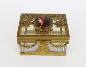 Rare Antique 19th Century French Bronze Baccarat Crystal Jewerly Casket Box