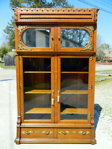 Fantastic Oak And Tiger Oak Bookcase Circa 1900