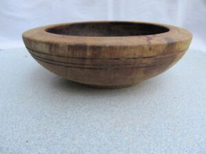 Old Antique Wooden Primitive Hand Carved Round Bowl Cup Plate
