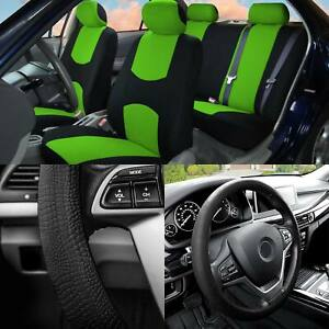 Full Cover Set Bucket Covers Solid Bench Green W balck Silicone Steering Cover