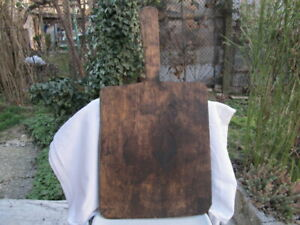Old Antique Primitive Wooden Wood Bread Board Dough Plate With Handle Aafa
