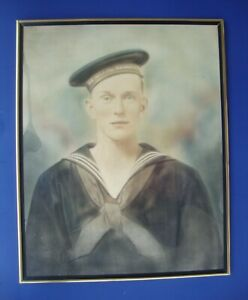 Hand Colored Photo Charcoal Drawing Us Navy Sailor In Dress Blues Circa 1900