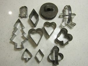 Lot 11 Primitive Tin Assorted Cookie Cutters Vtg Patina Heart Penguin Tree