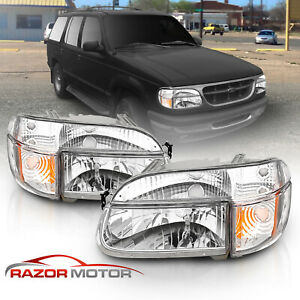 1995 2001 Ford Explorer 1997 Mountaineer Chrome Headlights corner Signal Lamps
