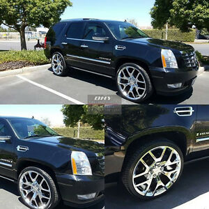 24 Wheels Gmc Replica Chrome Rims Tires Tpms Sierra Silverado Tahoe Escalade