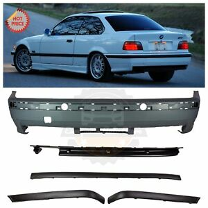 Bmw E36 M3 Style Rear Bumper W Moulding Trims For All 1992 99 2d 4d Exc Ti