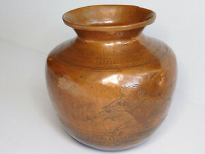 Orgi Used Antiques Engraved Copper Temple Used Holy Water Lota Pot From India