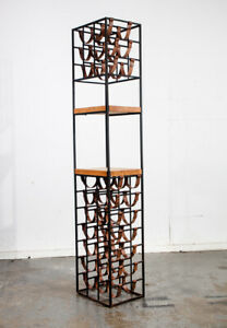 Mid Century Modern Wine Rack Arthur Umanoff Iron Leather Wood Vintage 30 Bottles