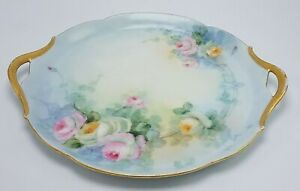 Vintage Beautiful Limoges J P L Hand Painted Plate Charger Roses 9 Gold
